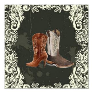 "Vintage Western Cowboy Boots wedding Invitation 5.25"" Square Invitation Card"
