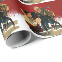 Vintage Western Cowboy Cowgirl Horse Christmas 2 Wrapping Paper