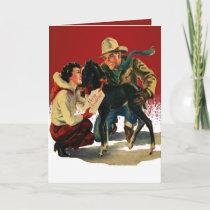 Vintage Western Cowboy Cowgirl Horse Christmas Card