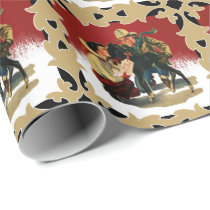 Vintage Western Cowboy Cowgirl Horse Christmas Wrapping Paper