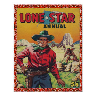 Vintage Western Cowboy Lone Star Poster