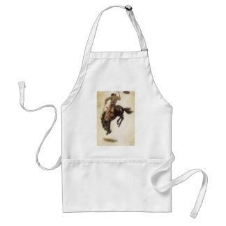 Vintage Western, Cowboy on a Bucking Bronco Horse Adult Apron