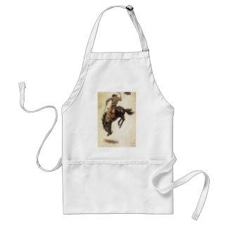 Vintage Western, Cowboy on a Bucking Bronco Horse Adult Apron