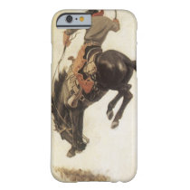 Vintage Western, Cowboy on a Bucking Bronco Horse Barely There iPhone 6 Case