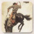 Vintage Western, Cowboy on a Bucking Bronco Horse Beverage Coaster