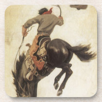 Vintage Western, Cowboy on a Bucking Bronco Horse Beverage Coaster