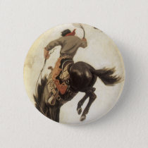 Vintage Western, Cowboy on a Bucking Bronco Horse Button