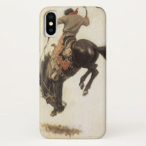 Vintage Western, Cowboy on a Bucking Bronco Horse iPhone X Case