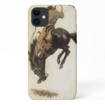 Vintage Western, Cowboy on a Bucking Bronco Horse iPhone 11 Case