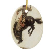 Vintage Western, Cowboy on a Bucking Bronco Horse Ceramic Ornament