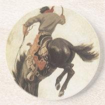 Vintage Western, Cowboy on a Bucking Bronco Horse Drink Coaster