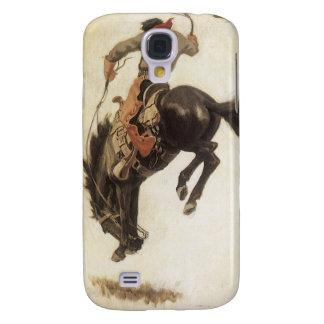 Vintage Western, Cowboy on a Bucking Bronco Horse Galaxy S4 Case