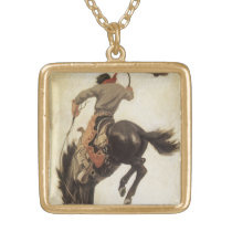 Vintage Western, Cowboy on a Bucking Bronco Horse Gold Plated Necklace