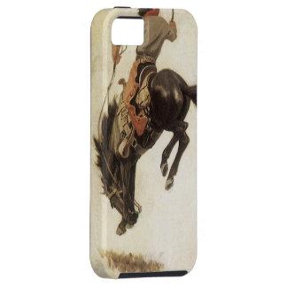 Vintage Western, Cowboy on a Bucking Bronco Horse iPhone SE/5/5s Case
