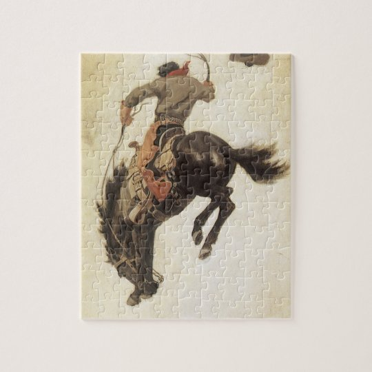 Vintage Western, Cowboy on a Bucking Bronco Horse Jigsaw Puzzle