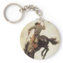 Vintage Western, Cowboy on a Bucking Bronco Horse Keychain