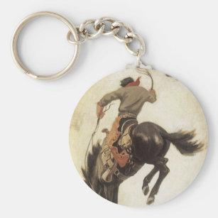 Black Leather  Rodeo Cowboy Vintage Horse Riding Bucking Keychain