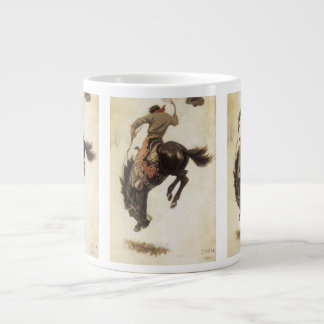 Vintage Western, Cowboy on a Bucking Bronco Horse Large Coffee Mug