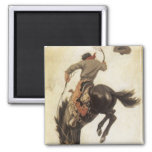 Vintage Western, Cowboy on a Bucking Bronco Horse 2 Inch Square Magnet