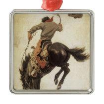 Vintage Western, Cowboy on a Bucking Bronco Horse Metal Ornament
