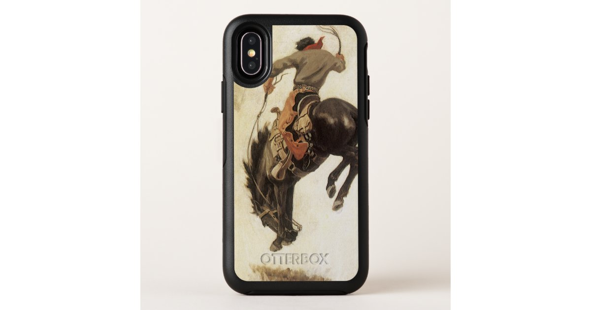 hot sale online bbf23 54c3e Vintage Western, Cowboy on a Bucking Bronco Horse OtterBox iPhone Case |  Zazzle.com