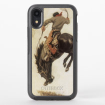 Vintage Western, Cowboy on a Bucking Bronco Horse OtterBox Symmetry iPhone XR Case