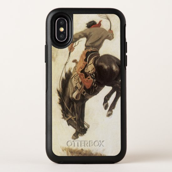Vintage Western, Cowboy on a Bucking Bronco Horse OtterBox Symmetry iPhone X Case