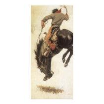 Vintage Western, Cowboy on a Bucking Bronco Horse Rack Card