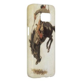 Vintage Western, Cowboy on a Bucking Bronco Horse Samsung Galaxy S7 Case