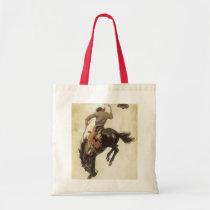 Vintage Western, Cowboy on a Bucking Bronco Horse Tote Bag