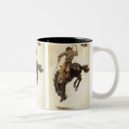 Vintage Western, Cowboy on a Bucking Bronco Horse Two-Tone Coffee Mug