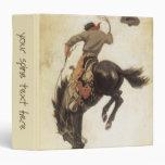 Vintage Western, Cowboy on a Bucking Bronco Horse Vinyl Binders