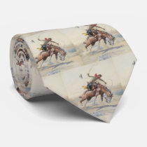 Vintage Western Cowboy On Bucking Horse Neck Tie