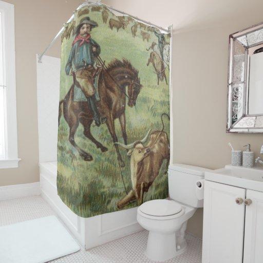 Vintage Western Cowboy Roping A Steer Shower Curtain