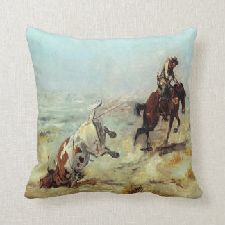 Vintage Western Cowboy Roping A Steer Throw Pillow