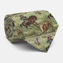 Vintage Western Cowboy Roping Steer Necktie
