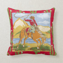 Vintage Western Cowboy Throw Pillow