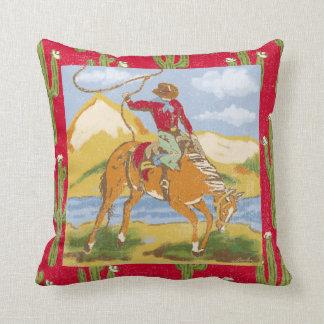 Vintage Western Cowboy Throw Pillow