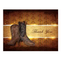 vintage western cowboy wedding thank you postcard
