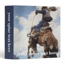 Vintage Western Cowboys, Bucking by NC Wyeth 3 Ring Binder