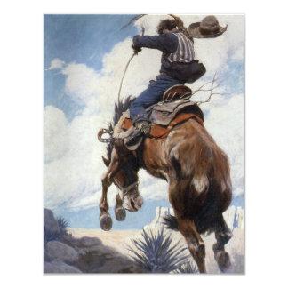 Vintage Western Cowboys, Bucking by NC Wyeth 4.25x5.5 Paper Invitation Card