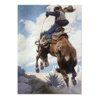 Vintage Western Cowboys, Bucking by NC Wyeth 5x7 Paper Invitation Card