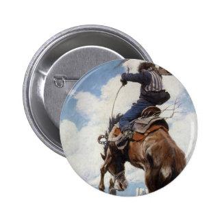 Vintage Western Cowboys, Bucking by NC Wyeth Button