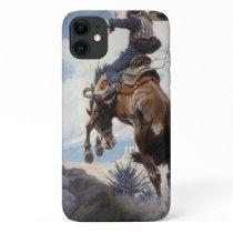 Vintage Western Cowboys, Bucking by NC Wyeth iPhone 11 Case
