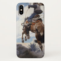 Vintage Western Cowboys, Bucking by NC Wyeth iPhone X Case