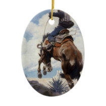 Vintage Western Cowboys, Bucking by NC Wyeth Ceramic Ornament
