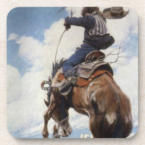 Vintage Western Cowboys, Bucking by NC Wyeth Drink Coaster