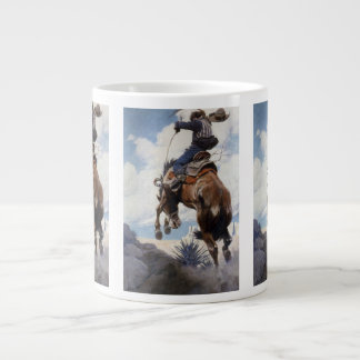 Vintage Western Cowboys, Bucking by NC Wyeth Giant Coffee Mug