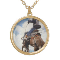 Vintage Western Cowboys, Bucking by NC Wyeth Gold Plated Necklace