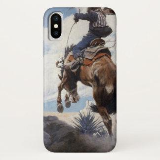 Vintage Western Cowboys, Bucking by NC Wyeth iPhone X Case